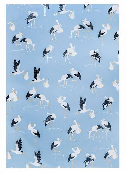 Stork Gift Wrap Sheets-Blue