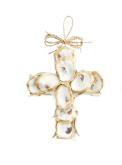 Hand-painted oyster shells form small cross ornament and twine loop bow hanger.