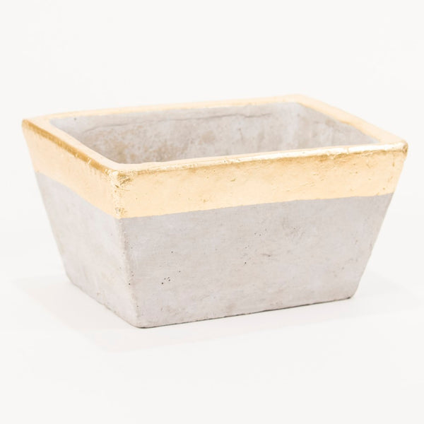 Stockholm Gold Rimmed Planter Gray and Gold