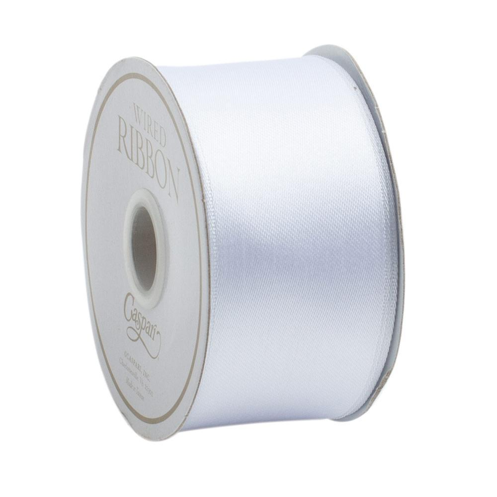 Solid Ivory Satin Wired Ribbon
