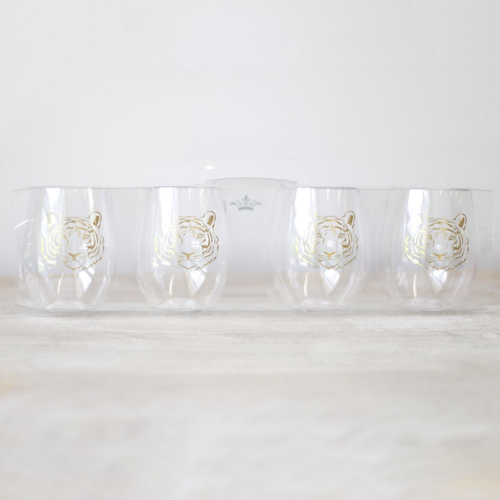 Tiger To Go Wine Glasses Gold 15oz Set of 4