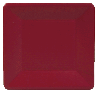 Grosgrain Border Red Salad Plates Square