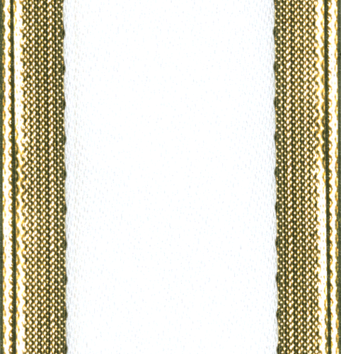 White with Gold Edge Ribbon