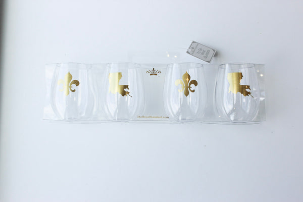 Set of 4-Louisiana To Go Wine Glasses Clear/Gold