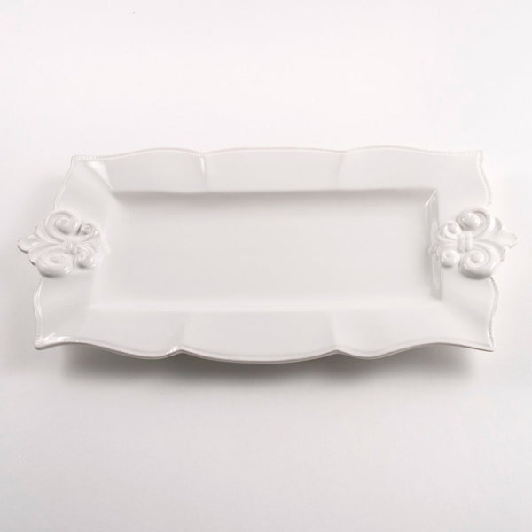 Fleur de Lis Rectangle Platter Antique White