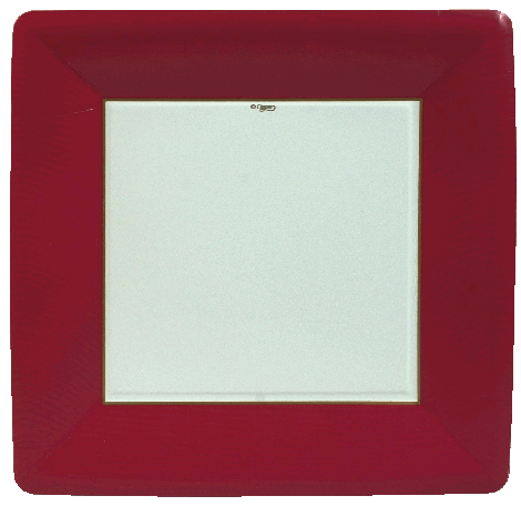 Grosgrain Border Red Dinner Plates Square