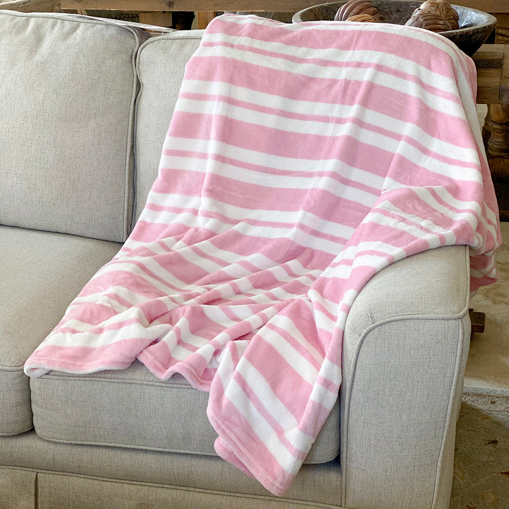 Pretty in Pink Throw White and Pink 50 x 60