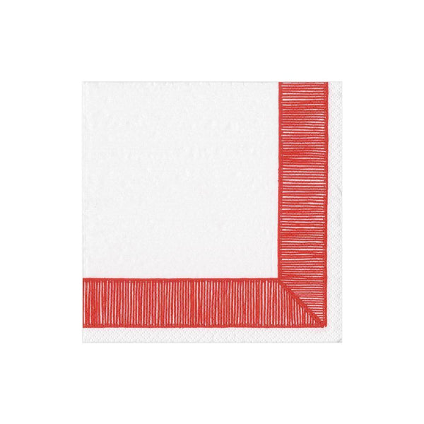 Red Ribbon Border Cocktail Napkin