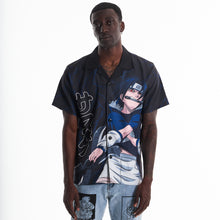 Load image into Gallery viewer, NARUTO SASUKE THUNDER BUTTON UP SHIRT (BLACK)