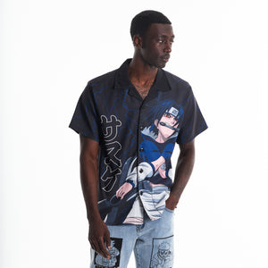 NARUTO SASUKE THUNDER BUTTON UP SHIRT (BLACK)