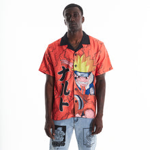 Load image into Gallery viewer, NARUTO 9 TAILS THUNDER BUTTON UP SHIRT (ORANGE)