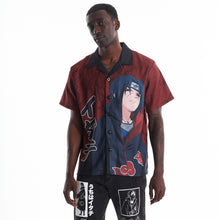 Load image into Gallery viewer, NARUTO ITACHI THUNDER BUTTON UP SHIRT (MAROON)
