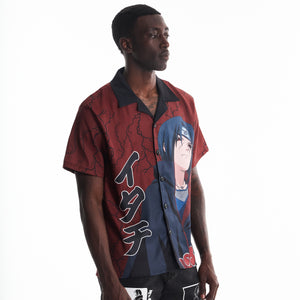 NARUTO ITACHI THUNDER BUTTON UP SHIRT (MAROON)