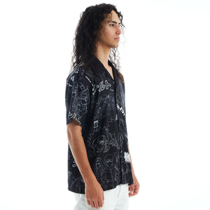 NARUTO ALL OVER PRINT BUTTON UP SHIRT (BLACK)