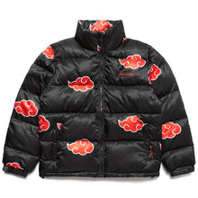 Load image into Gallery viewer, NARUTO AKATSUKI PUFFER JACKET (BLACK)