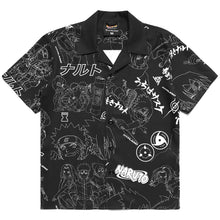 Load image into Gallery viewer, NARUTO ALL OVER PRINT BUTTON UP SHIRT (BLACK)