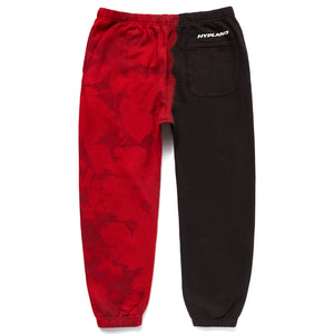 SPLIT CRYSTAL LOGO SWEATPANTS (RED/BLACK)