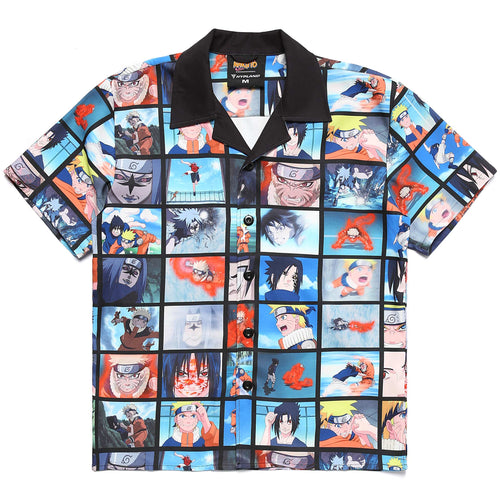 NARUTO VS SASUKE SCENES BUTTON UP SHIRT (MULTI)