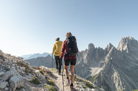 Two females hiking in the mountains