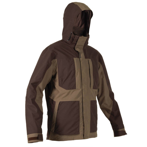 Men's Hunting Waterproof Jacket Renfort 500,coffee