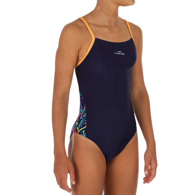 Girls' 1-Piece Swimsuit Chlorine-Resistant Lexa,navy blue, photo 1 of 5
