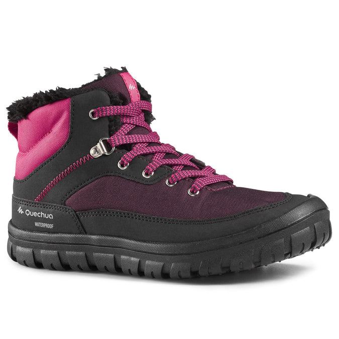 Junior Snow Hiking Warm Laceup Mid-Height Boots SH100,plum, photo 1 of 7