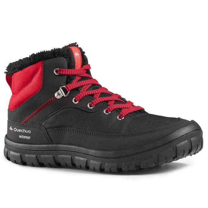 Junior Snow Hiking Warm Laceup Mid-Height Boots SH100,black, photo 1 of 6