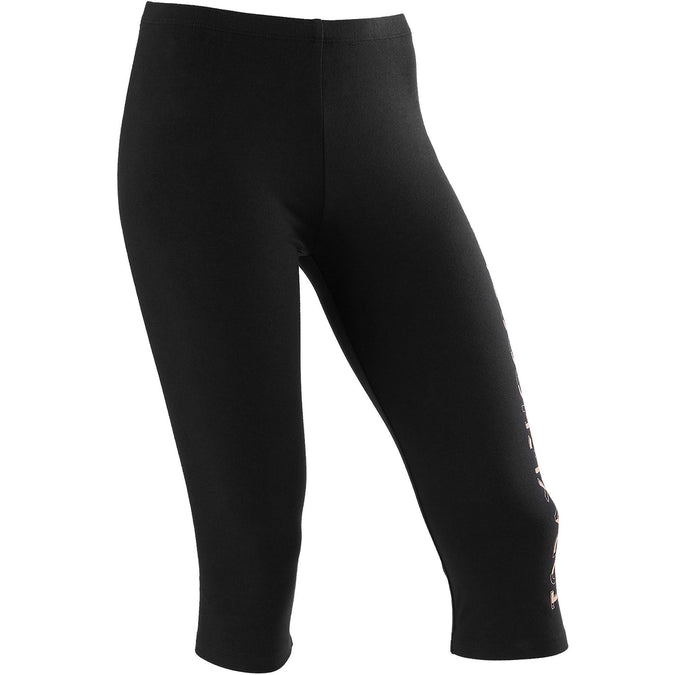Girls' Gym Cropped Bottoms 100,black, photo 1 of 5