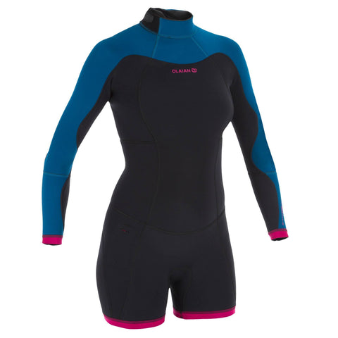 Women's Surfing Long Sleeve Neoprene Shorty Wetsuit 500,black