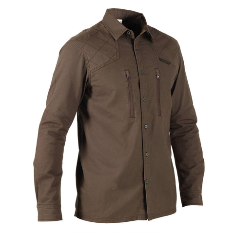 Men's Hunting Reinforced Long-Sleeve Shirt 520,coffee