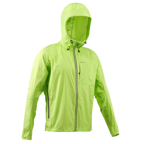 Men's Hiking Waterproof Rain Jacket Helium Rain 500,lime green