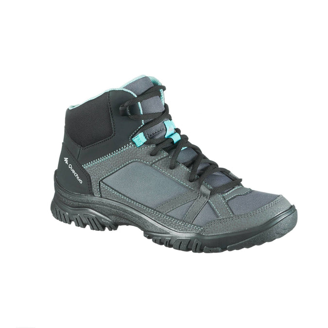 Women's Country Walking Mid-Height Shoes NH100,granite, photo 1 of 10