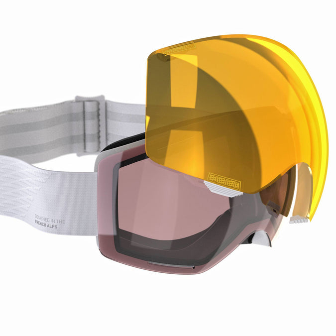 Kid's and Adult's Skiing and Snowboarding Goggles G 520 I,snowy white, photo 1 of 7