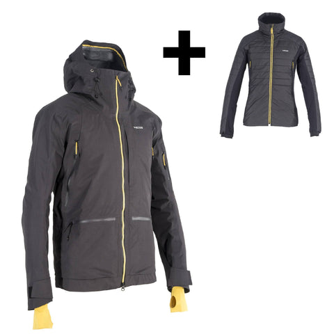 Men's Freeriding Jacket 3-in-1 SFR 900,carbon gray
