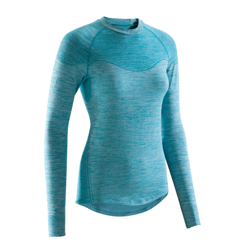 Triban 500, Long Sleeved Cycling Base Layer, Women's,neon coral pink