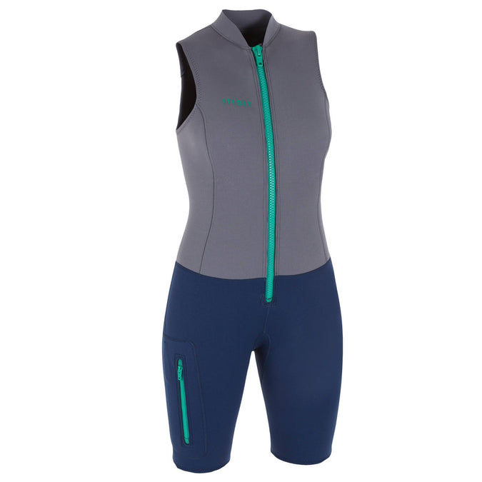 Women's Kayaking Neoprene Tank Top Shorty Suit 500 - 2 mm,dark gray, photo 1 of 17