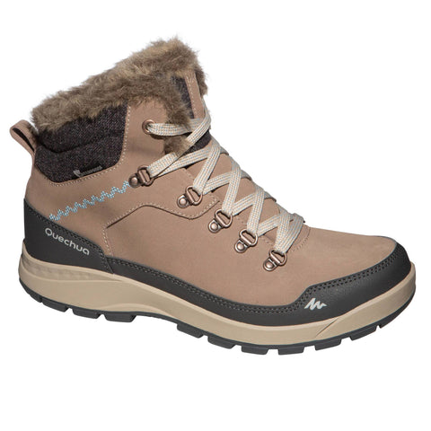 Women's Snow Hiking X-Warm Mid Socks SH500,brown
