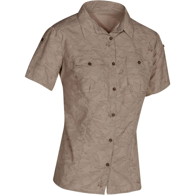 Women's Travel Backpacking Short-Sleeved Shirt Arpenaz 500,beige, photo 1 of 20