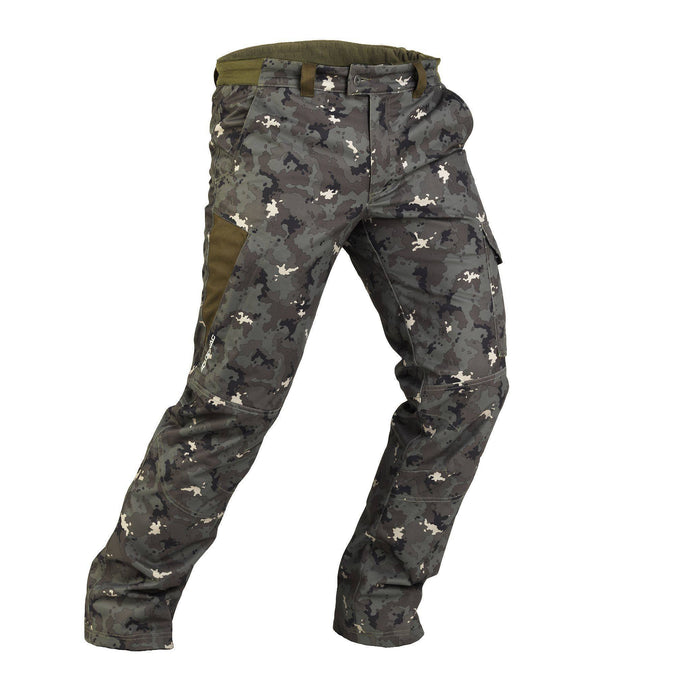 Men's Hunting Warm Waterproof Pants 500,khaki camouflage, photo 1 of 12