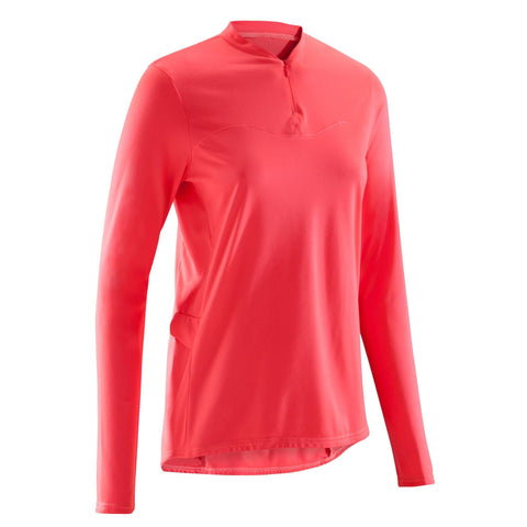 Women's Cycling Long-Sleeve T-Shirt 100,neon coral pink