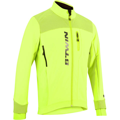 Men's Cycling High Visibility Warm Jacket 900,neon lemon lime