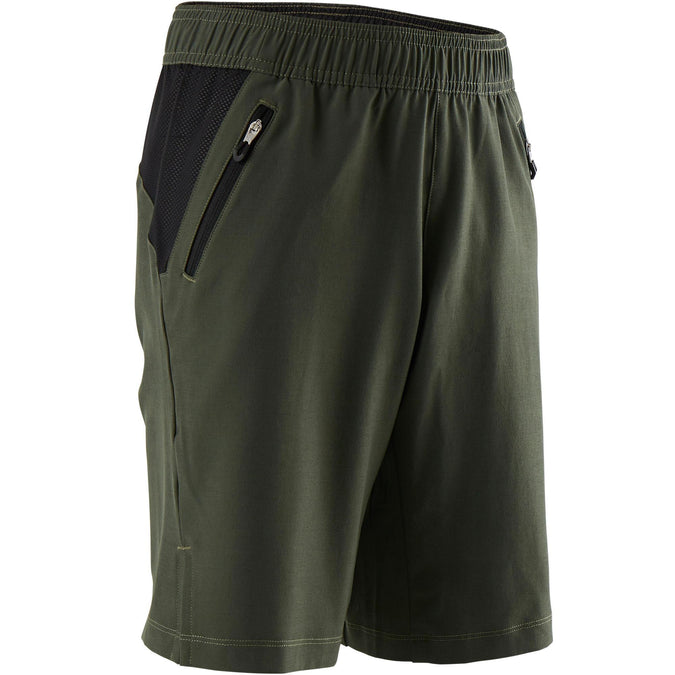 Domyos W500, Breathable Gym Shorts, Kids',black olive, photo 1 of 5