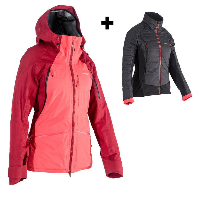 Women's Freeride Ski Jacket SFR 900,strawberry pink, photo 1 of 10