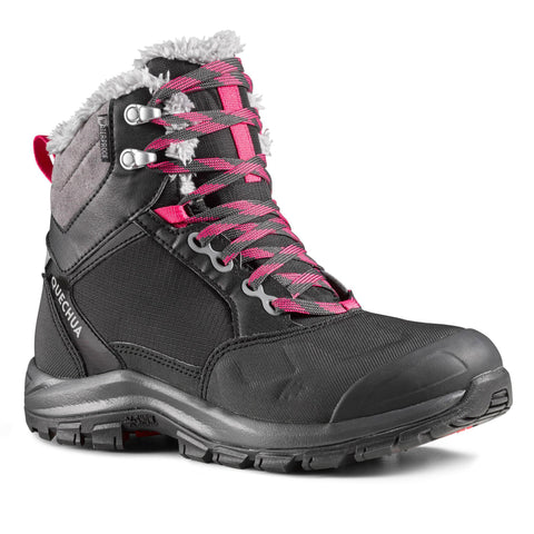 Quechua SH520 X-Warm, Mid Waterproof Hiking Boots, Women's,black