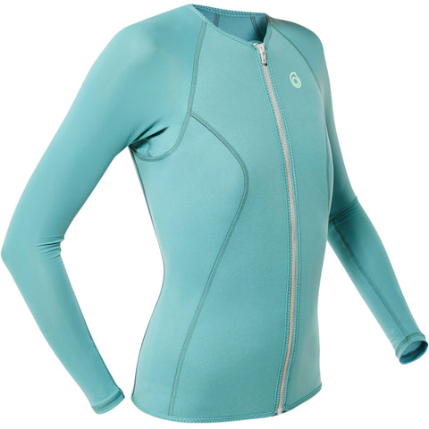 Women's Snorkeling 1.5 mm Long Sleeved Top SNK ML 500,turquoise