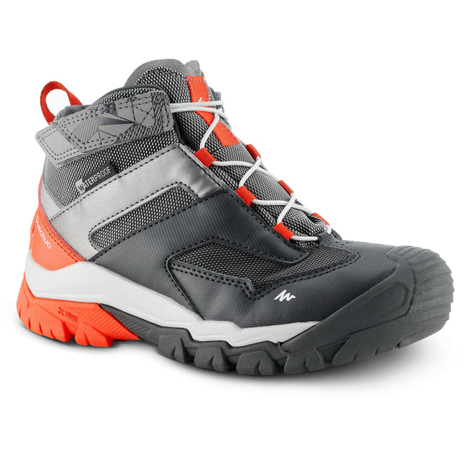 Quechua Crossrock, Mid Waterproof Lace-Up Hiking Shoes, Kids',pewter, photo 1 of 4