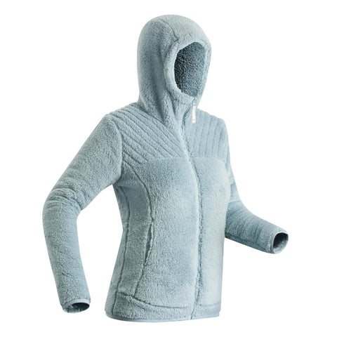 Women's Hiking Ultra-Warm Fleece Jacket SH100,light grey