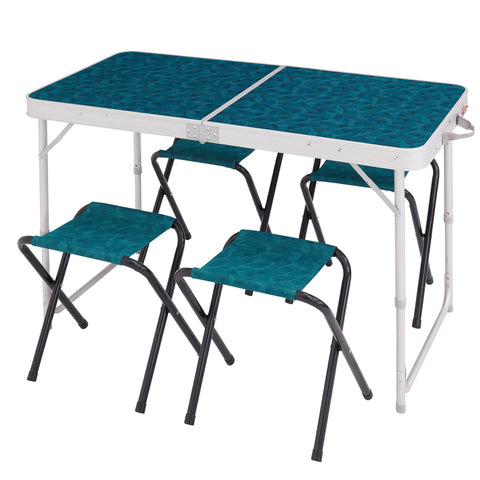 Camping Folding Table with 4 Stools,blue
