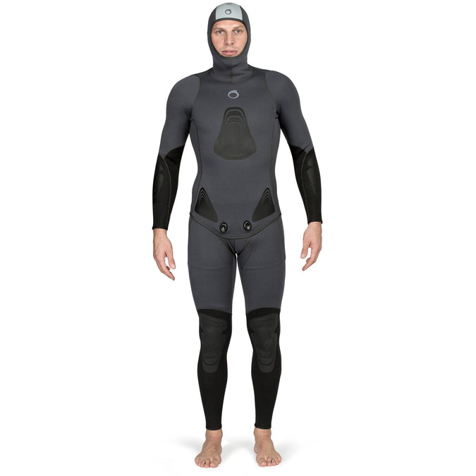 Men's Spearfishing Wetsuit Jacket SPF 100 - 3 mm,gray blue, photo 1 of 13