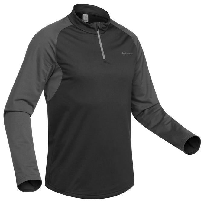 Quechua SH100 Warm, Long-Sleeved Warm Hiking T-Shirt, Men's,black, photo 1 of 11